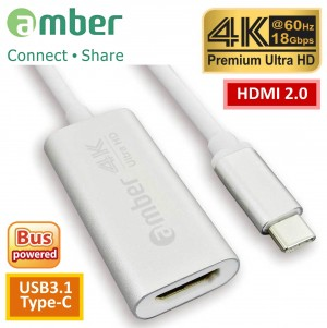 [CU3-AH11] 轉接器Adapter USB3.1 Type-C (Thunderbolt 3)轉HDMI 2.0, Premium 4K @60Hz, 高級鋁合金殼, 閃亮銀