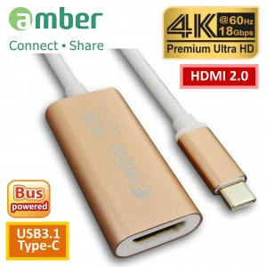 [CU3-AH12] 轉接器Adapter USB3.1 Type-C (Thunderbolt 3)轉HDMI 2.0, Premium 4K @60Hz, 高級鋁合金殼, 玫瑰金