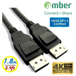 DPC-218_ VESA DisplayPort 1.2認證 影音傳輸線, DP公 對 DP公, 4K @60Hz, 21.6Gbps, 1.8m。