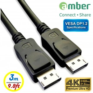DPC-230_ VESA DisplayPort 1.2規格 影音傳輸線, DP公 對 DP公, 4K @60Hz, 21.6Gbps, 3米。