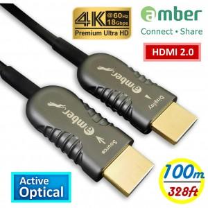 HMAO-P100_ HDMI 2.0主動式光纖傳輸線, Premium 4K @60Hz/ 18Gbps, HDR, 4:4:4, 100m, Panther Beyond黑豹超越