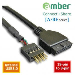 "[USB] DR1G00095_ int. USB3.0 adapter cable, 19-pin to 8-pin, 150mm (5.9"")."